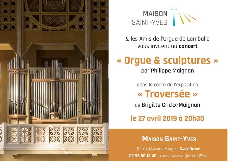 Invitation concert Orgues & sculptures le 27 Avril 2019 à 20h30